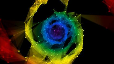 Isolated Iridescent rainbow Digital polygonal DNA... Stock Video Footage