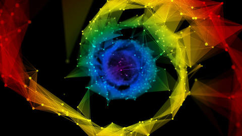 Isolated Iridescent rainbow Digital polygonal DNA molecule strand colorful Loop Animation