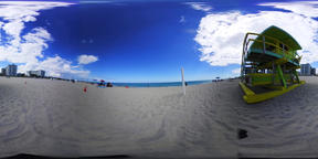 360 vr video of a colorful lifeguard tower in world famous South Beach. Miami Be VR 360° Video