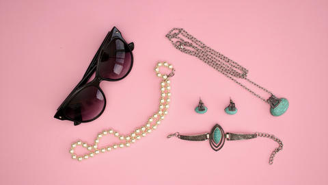 Sunglasses Necklace Bracelet Earrings and lipstick - beauty products Stop motion animation Animation