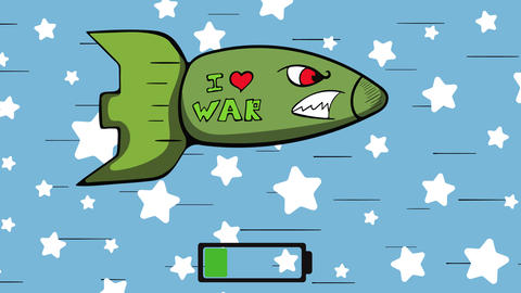 Angry missile and battery stars Animation
