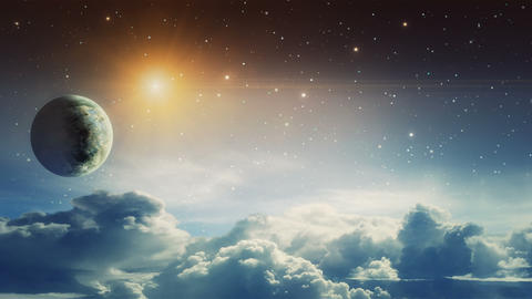 Space scene. Falling star with cloud and planet. Elements furnished by NASA. 3D rendering Animation