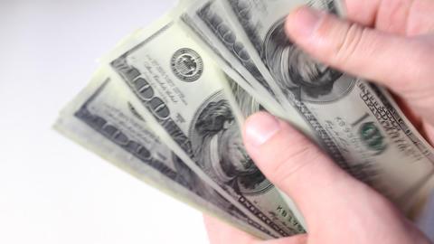 Man counts money. Money close-up Live Action