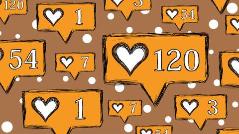 Likes set orange on brown Animation