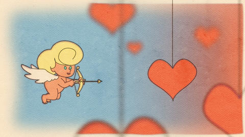 A flying cupid that shoots a heart of love in Valentine 's Day Animation