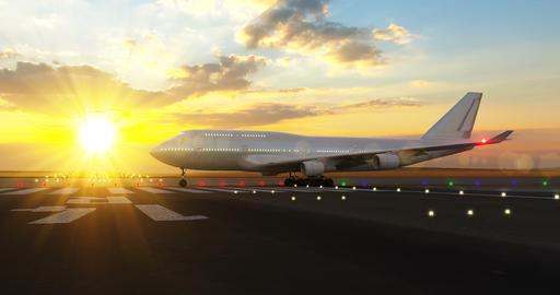 Passenger airplane preparing for take-off Animation
