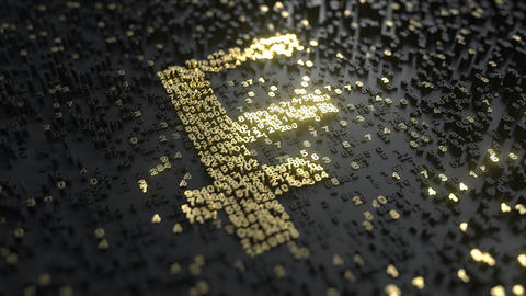 Swiss Franc CHF sign made of gold numbers. Conceptual 3D animation Live Action