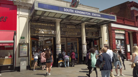 JSP-0889 Entrance South Kensington underground station sunny day Live Action