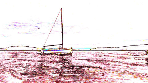 Cool cold gradient line drawing of a cartoon ship or yacht and swimming hungry swan Footage