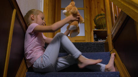 Little Girl Alone At Home Footage