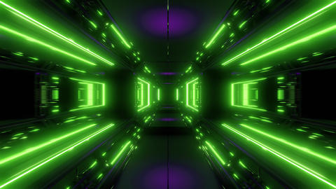 scifi space tunnel corridor with glowing shiny lights 3d illustration background Animation