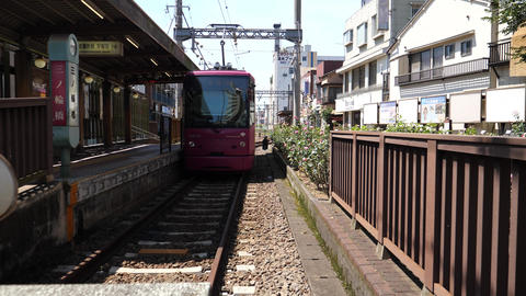 Tokyo,Japan-August 7, 2019: A tramcar departing from Toei... Stock Video Footage