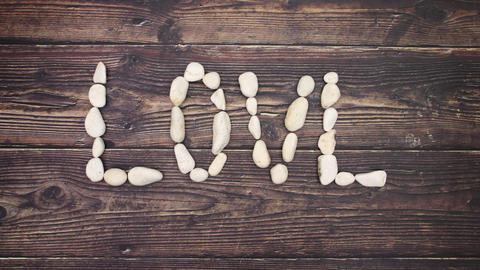 Love written with stones - Stop motion Animation