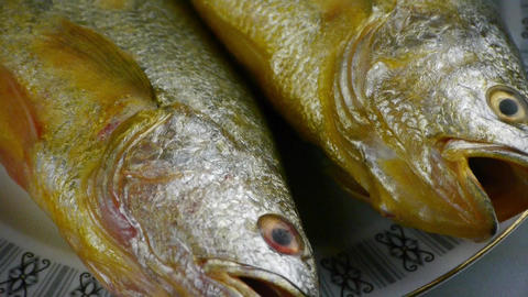 Delicious Croaker fish within dial plate.fisheries Stock Video Footage