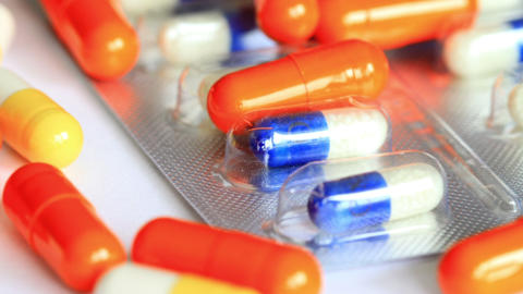 Medical Pills on the Table. Shot Slider Stock Video Footage