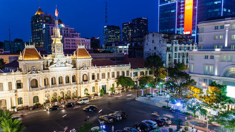 1080p - Timelapse Vietnam HCMC City Hall Stock Video Footage