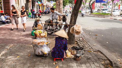 Timelapse of street vendor in Ho Chi Minh City Footage
