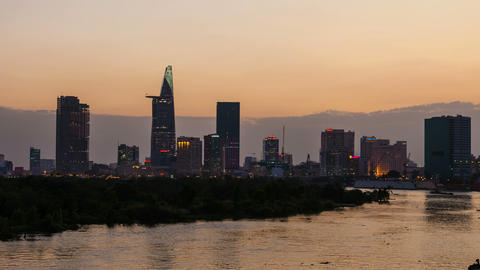 1080p - Ho Chi Minh City City Skyline Timelapse at Sunset Stock Video Footage