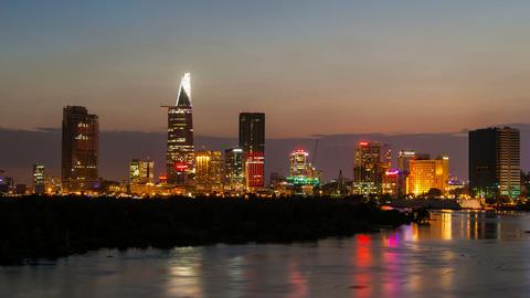 1080p - Ho Chi Minh City City Skyline Timelapse at Sunset Footage