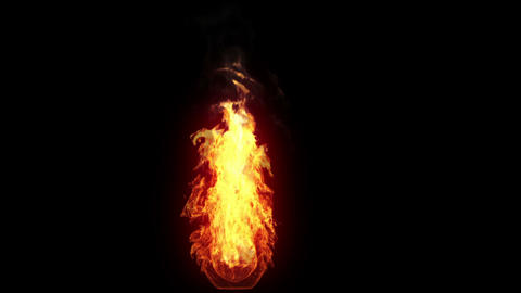 Burning torch, alpha Stock Video Footage