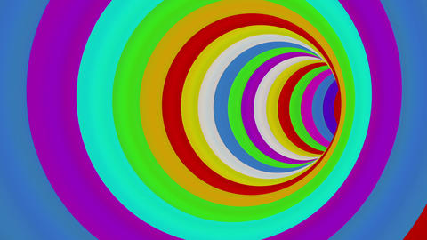 Colorful Long Round Tunnel - loop Stock Video Footage