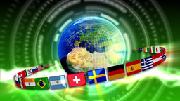 Spinning Earth with Flags - Earth 90 (HD) Animation