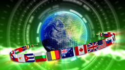 Spinning Earth with Flags - Earth 90 (HD) Stock Video Footage
