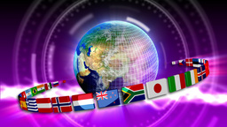 Spinning Earth with Flags - Earth 94 (HD) Stock Video Footage