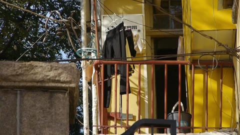 Tree with old house,dry clothes at balcony & lush canopy in Qingdao City Footage