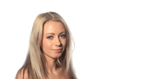 Beautiful blonde girl drink water Stock Video Footage