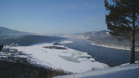 River Yenisei Winter Landscape 01 Footage