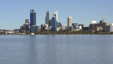 Perth City from across the Swan River Stock Video Footage