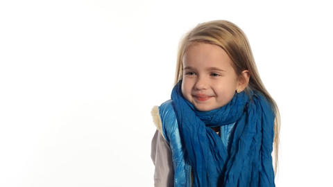 little girl blonde very emotional Stock Video Footage