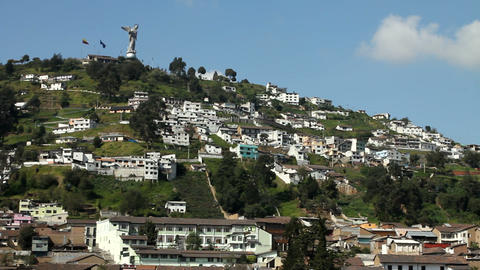 El Panecillo and panoramic view of Quito Footage