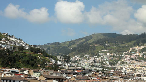 El Panecillo and panoramic view of Quito Stock Video Footage