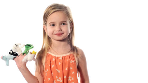 little girl plays with toys Stock Video Footage