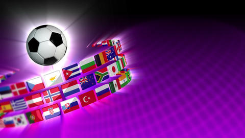 Soccer International Flags Sport Background 55 (HD) Stock Video Footage