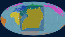 Uganda - 3D tube zoom (Mollweide projection). Continents Animation