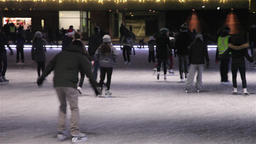 people skating on the ice rink toronto during Christmas epoch Footage