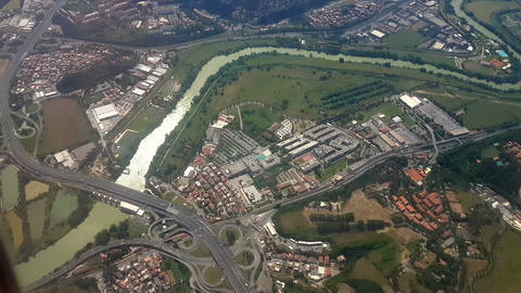Rome June 2016 Italian highway junction aerial view before landing to Ciampino a Live Action