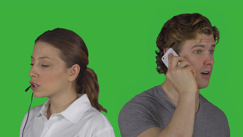 Female customer service speaks with man (Green Key) Footage