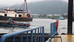 fishing boats passing in macau port Footage