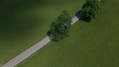 Aerial - Tracking shot of an empty tipping truck for timber harvesting Live Action