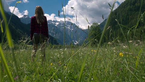 Woman standing in the meadow and raising arms Live Action