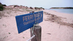 old ferry boat signal on the beach, slider shot Footage