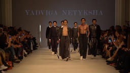 Fashion show. Group of models walking on the catwalk. Model Footage