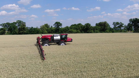 New modern agricultural machinery, self propelled sprayer with long arms Live Action