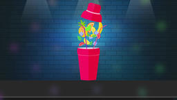 Cocktail shaker in the bar or disco club. The 2D animated video Animation