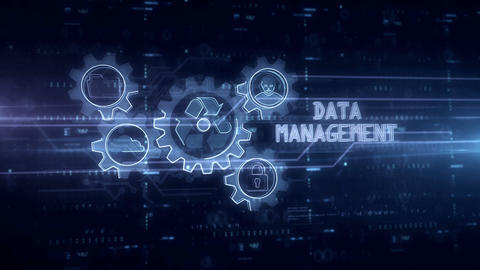 Data management symbol hologram Animation
