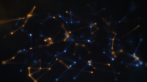 Slowly Floating Cinematic Blue and Orange Plexus Network on Black Backdrop Animation